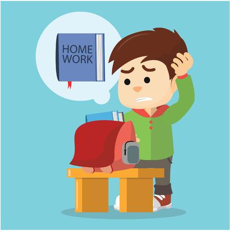 homework: boy forget his homework
