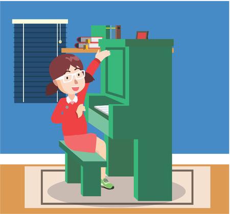 prepare: girl prepare to play piano Illustration