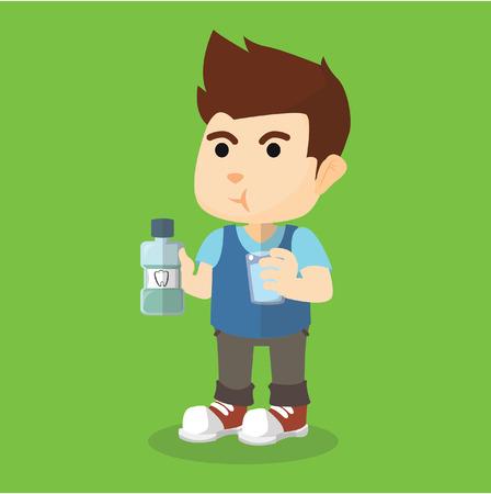 gargle: Boy gargle his mouth with mouthwash Illustration