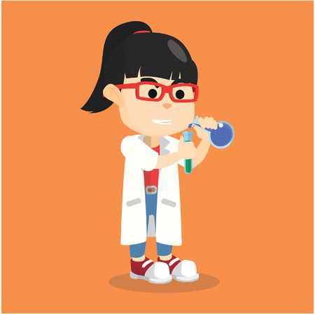 lab coat: Girl wearing lab coat experiment