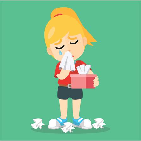 crying kid: washing face Crying with tissue Illustration