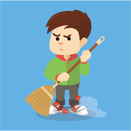 sweeping: Boy sweeping with his broom