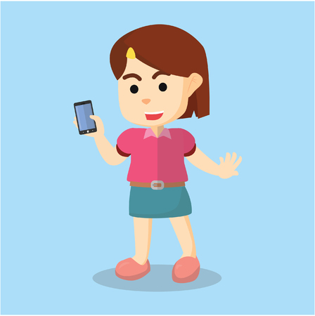 woman cell phone: Girl holding phone Illustration