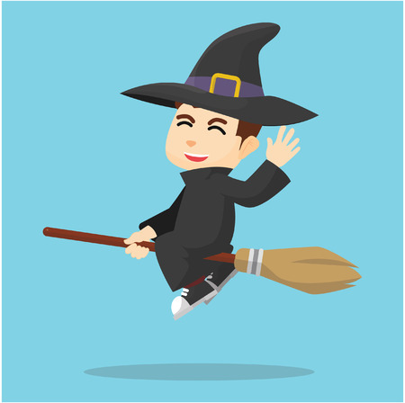 #53414827 - Boy using witch costume  sc 1 st  123RF.com & Cartoon Wizard Boys And Witch Girls Halloween Costume Royalty Free ...