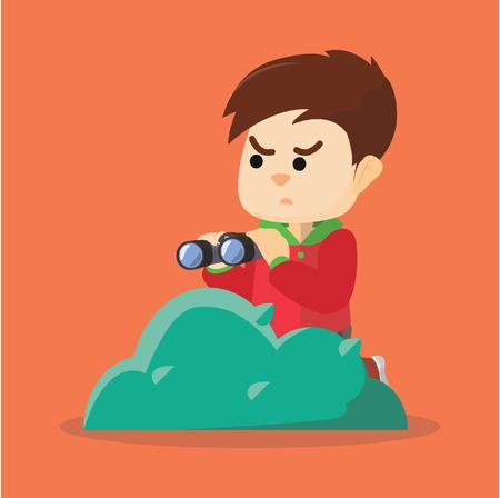 spying: Spying boy with binocular