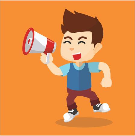 yelling: Boy yelling with megaphone