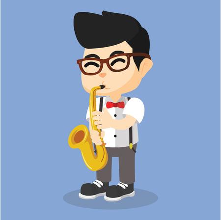improvisation: Boy playing saxophone