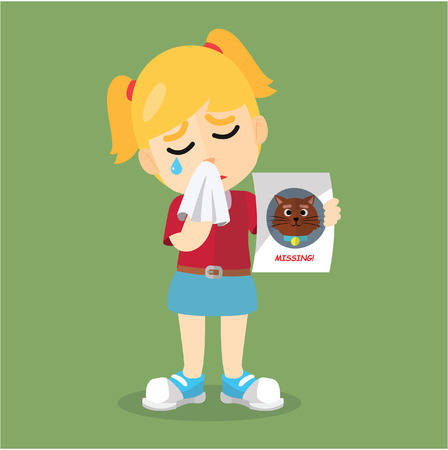 teary: Girl crying because losing her cat Illustration