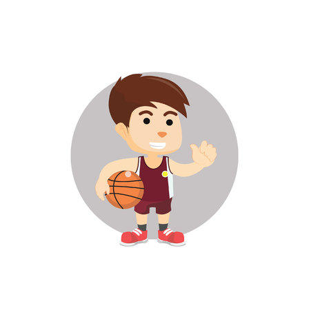 basket ball: Boy holding basket ball Illustration