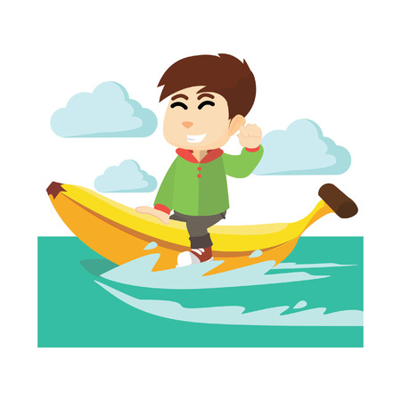 ridding: Boy ridding banana boat