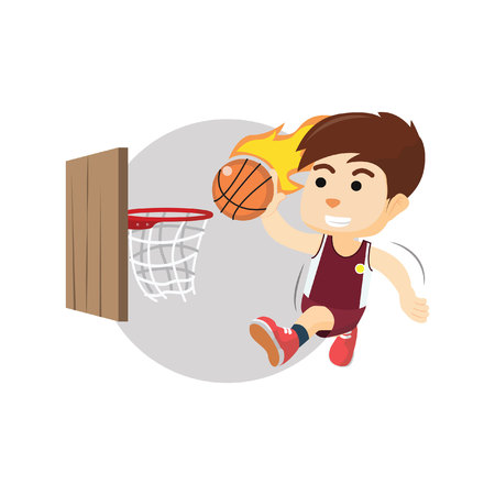 dunking: Boy playing basket ball Illustration