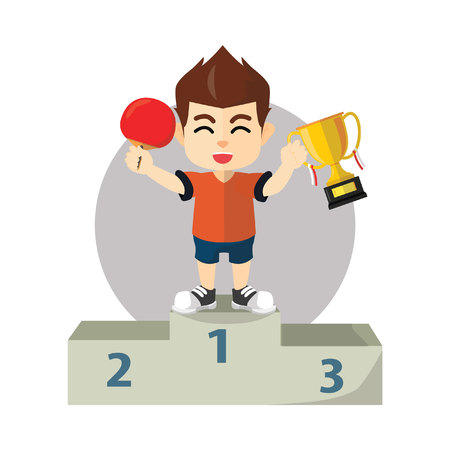 Boy winning ping pong champion ship