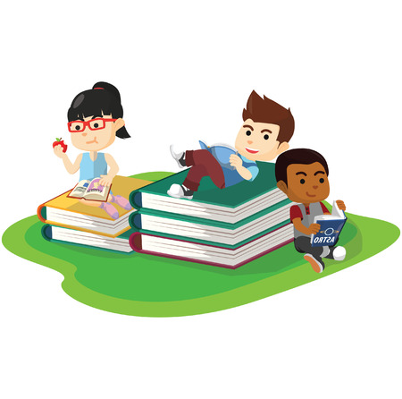 kids reading: Reading hobbies activity Illustration