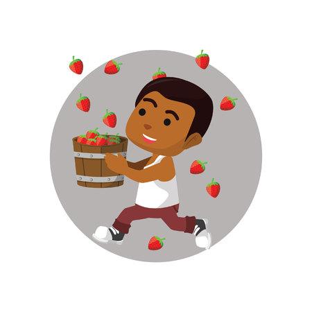 catch: Boy catch up strawberry Illustration