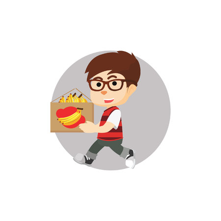 carrying: Boy carrying banana Illustration