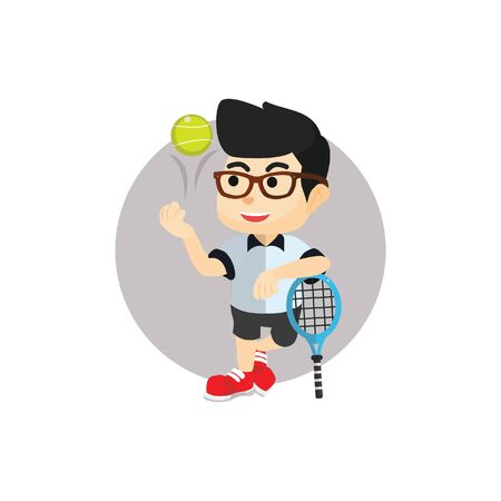 Raquet: Boy ready for tennis ball competition