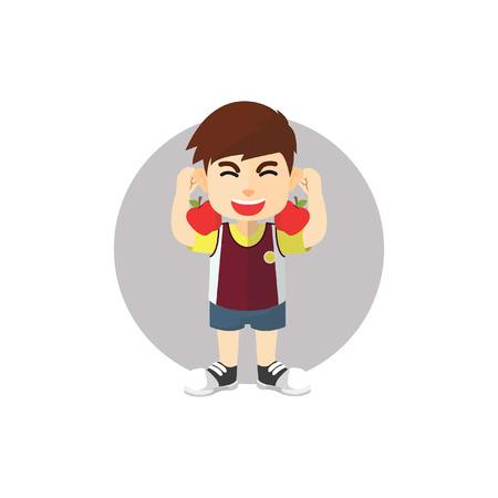 energized: Boy getting energized with fresh fruit