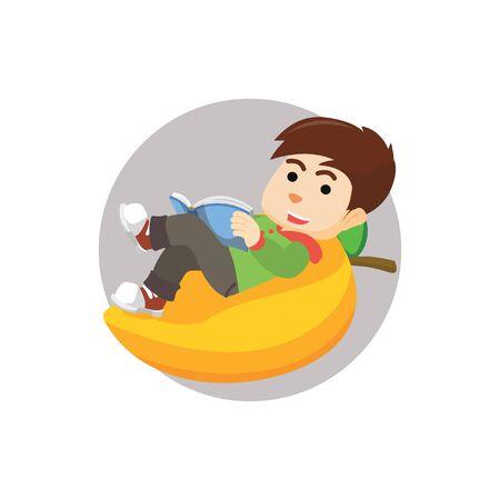 laying: Boy laying giant mango
