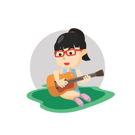 girl playing guitar: Girl playing guitar Illustration