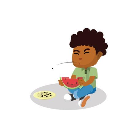 hungry kid: Boy eating watermelon