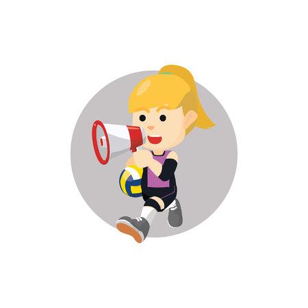 pelota de voley: Chica anunciar balonvolea Vectores
