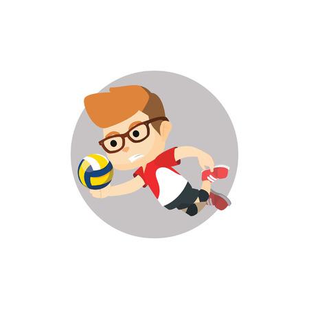 pelota de voley: El muchacho jugador de voleibol Vectores