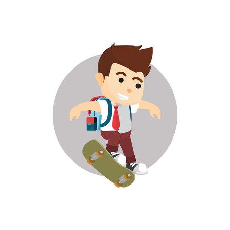 skate board: Boy kickflip with skate board