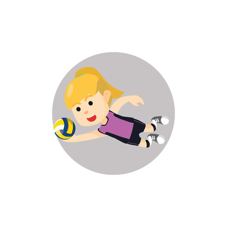 volley ball: Girl playing volley ball Illustration