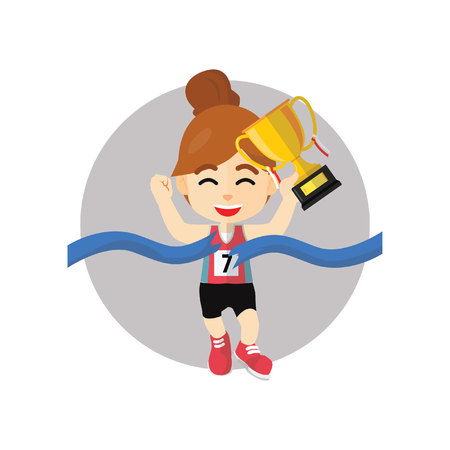 winning the race: Girl winning race