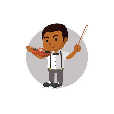Boy playing violin Vektoros illusztráció