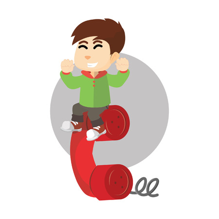 boy at phone: Boy with giant phone Illustration