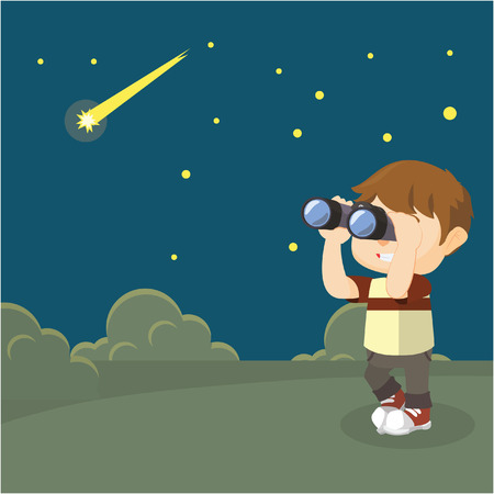 gazing: Boy star observations Illustration