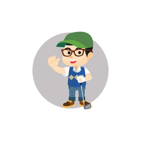 golf player: Boy using golf player custom Illustration