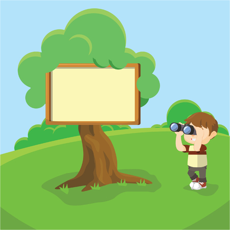 binoculars view: Blank sign at tree Illustration
