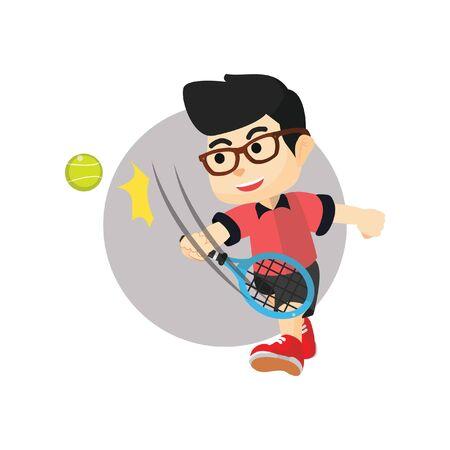 raquet: Boy playing tennis ball