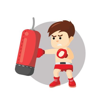 boy boxing: Boxing boy punching sand sack Illustration