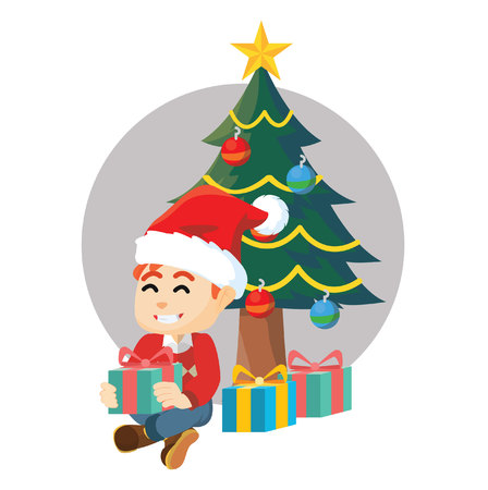 christmass: Boy open gift with christmass tree Illustration