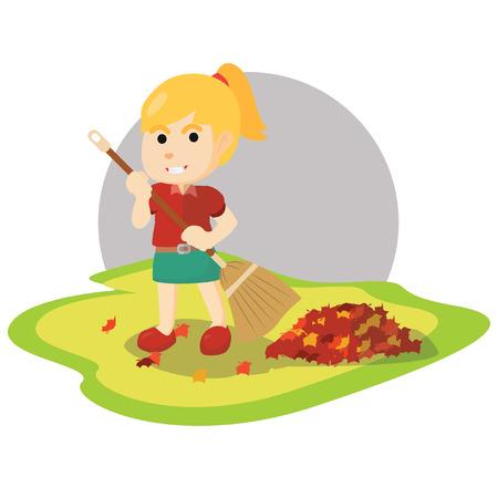 sweeping: girl sweeping falling mapple leaf