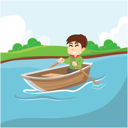 rowing boat: Boy rowing boat Illustration