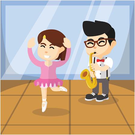 male ballet dancer: Playing saxophone and ballerina girl