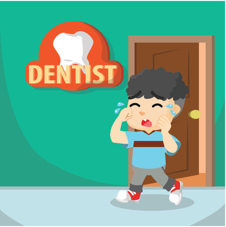 mouth pain: Boy crying going to dentist