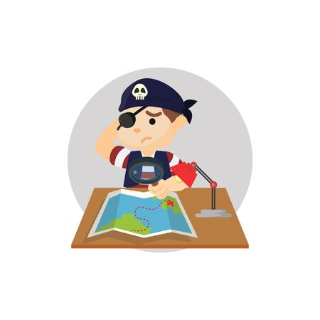 searching: Pirate boy searching for treasure in map Illustration