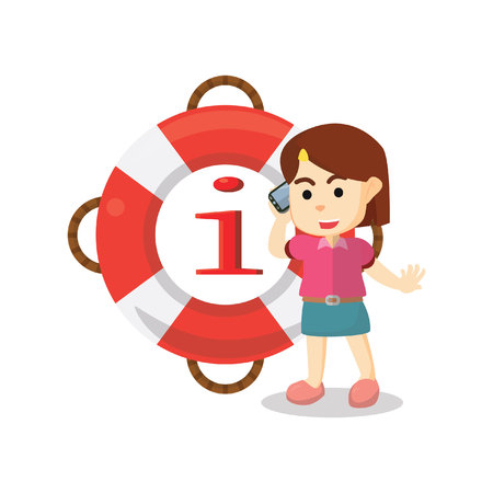 girl at phone: Girl phone for safety information Illustration