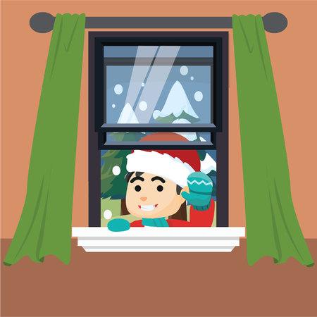 blind woman: Girl using santa claus costume peeking from window