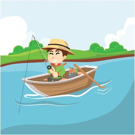 fisher man: Boy fishing at river