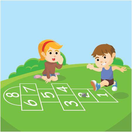 skip: Boy and girl playing skip