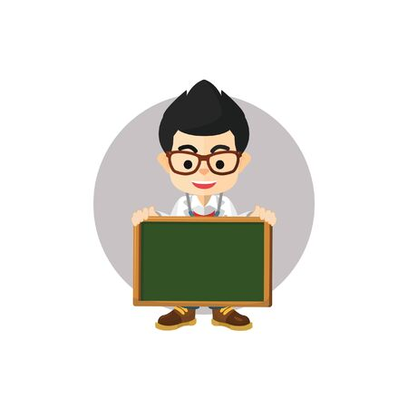 stethoscope boy: Boy doctor holding blackboard Illustration