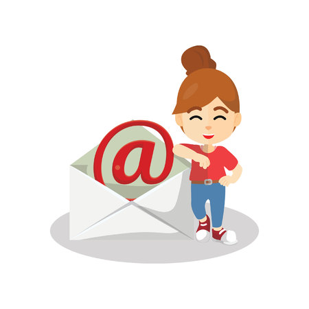 Girl showing email message Иллюстрация