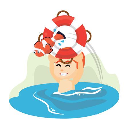 dorado: Boy holding float and fish
