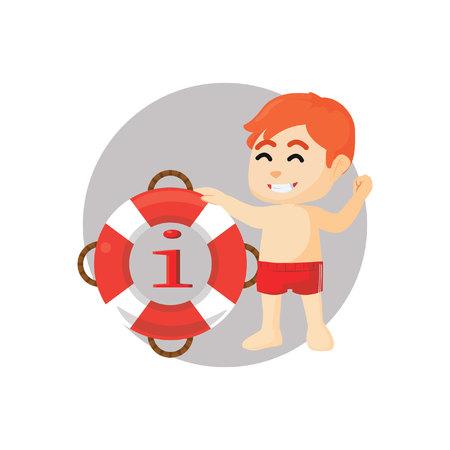 beside: Boy standing beside float information